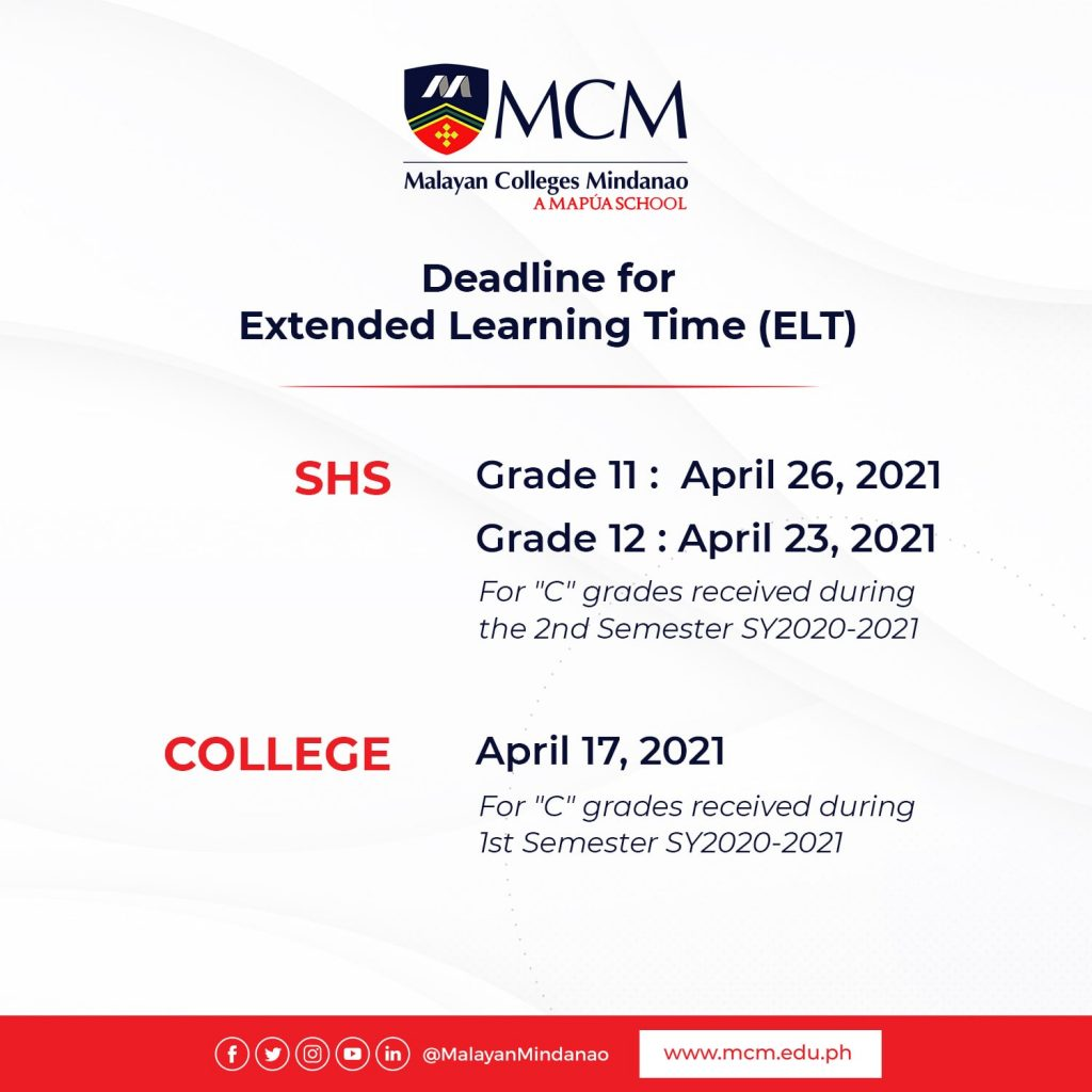 Deadline for Extended Learning Time (College)